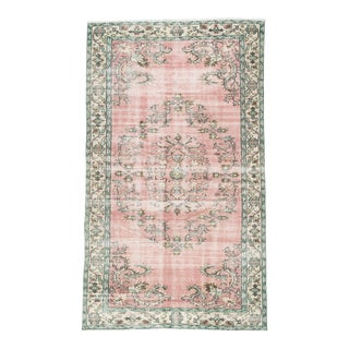 1990s Boho Chic Turkish Rustic Pink and Green Handmade Wool Rug - 5′ × 9′ For Sale