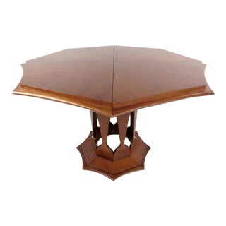 Mid-Century Walnut Dining Table With Extending Leaves For Sale