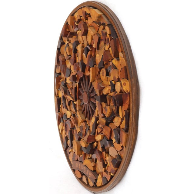 Mid-Century Modern Round Wooden Wall Plaque Sculpture Sunburst For Sale - Image 3 of 8