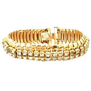 1950s Jewels by Julio Gold & Swarovski Crystal Rhinestone Link Bracelet For Sale