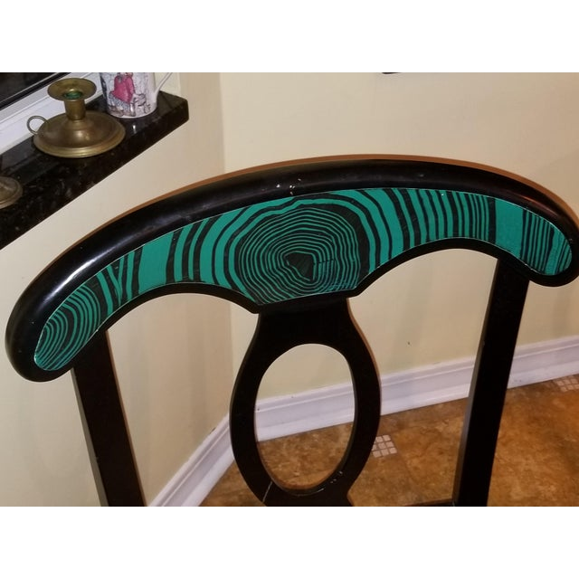 1970s Mid Century Faux Malachite Dining Set 5 Piece Set 1 Table 4 Chairs 2 Leaves All Matching! For Sale - Image 10 of 13