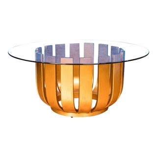 Art Deco Gold Burst Round Coffee Table For Sale