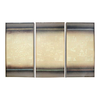 Mid Century Modern Paul Maxwell Signed Framed Stencil Cast Paper Triptych 1970s - Set of 3 For Sale