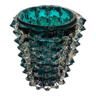 Costantini Italian Rostrato Blue Green Teal Murano Glass Modern Vase - in Showroom For Sale