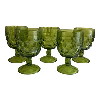 Midcentury Green Groovy Goblets, Set of Five For Sale