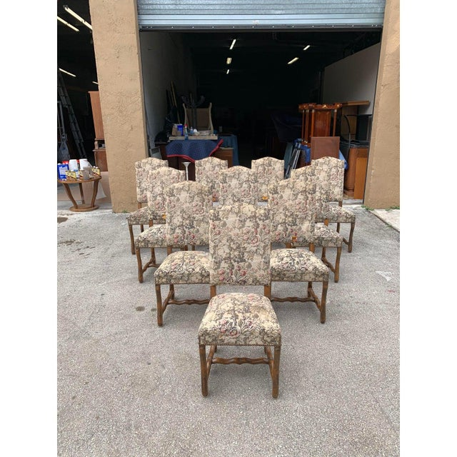 1900s Vintage French Louis XIII Style Os De Mouton Dining Chairs- Set of 10 For Sale - Image 4 of 13