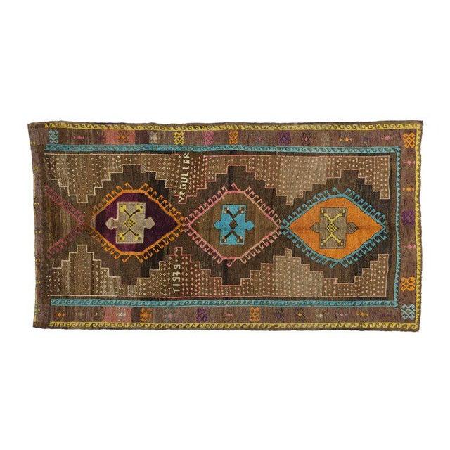 "Vintage Turkish Oushak Wool Gallery Runner Rug - 6'2"" X 11'4"" For Sale - Image 4 of 5"
