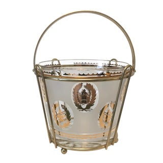 Vintage Mid Century Ice Bucket With Caddy For Sale