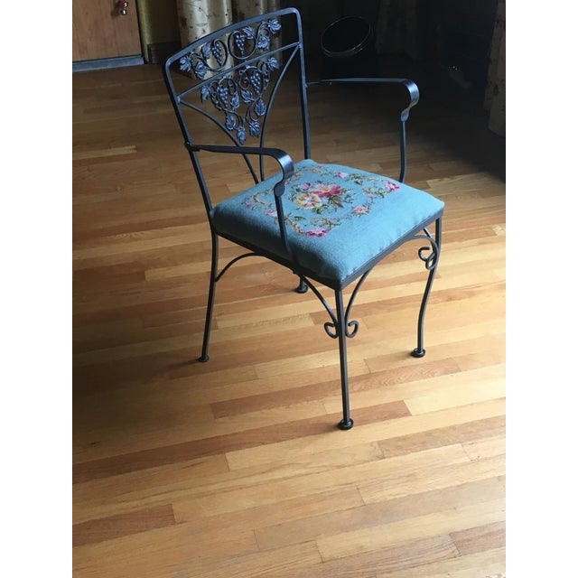 Needlepoint Cushion Wrought Iron Chair - Image 4 of 10