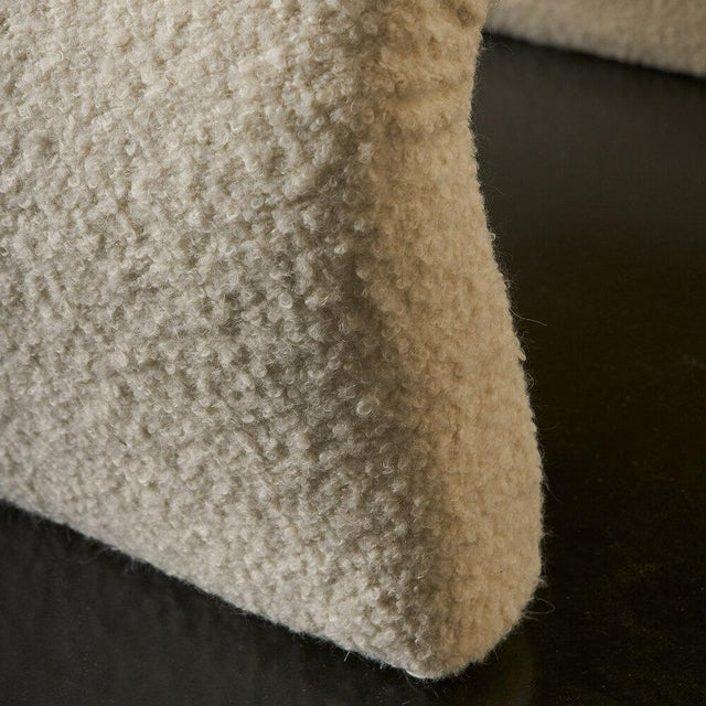 Pair of Curvy Sculptural Lounge Chairs in Ivory Boucle For Sale - Image 9 of 11