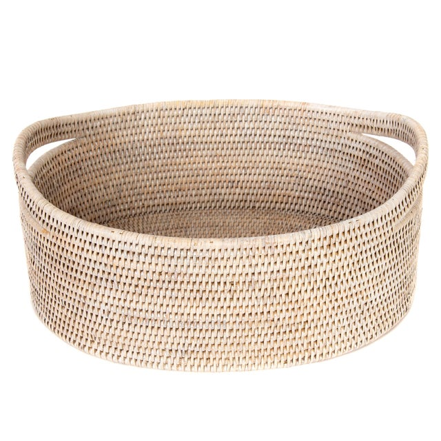 Artifacts Rattan Oval Basket With Cutout Handles in White Wash For Sale In Houston - Image 6 of 6