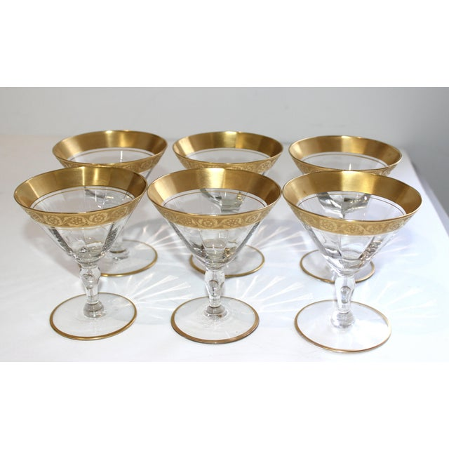 Vintage Champagne Coupes Sherbets Aperitif With Gold Band and Base Rim - Set of 6 For Sale - Image 12 of 13