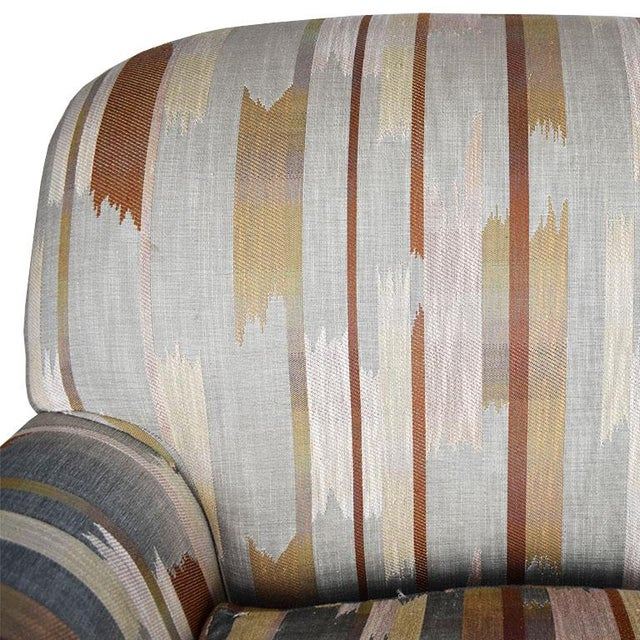 Rolling Upholstered Southwest Ikat Armchair in Brown Cream and Blue by Baker Furniture Company For Sale - Image 10 of 13