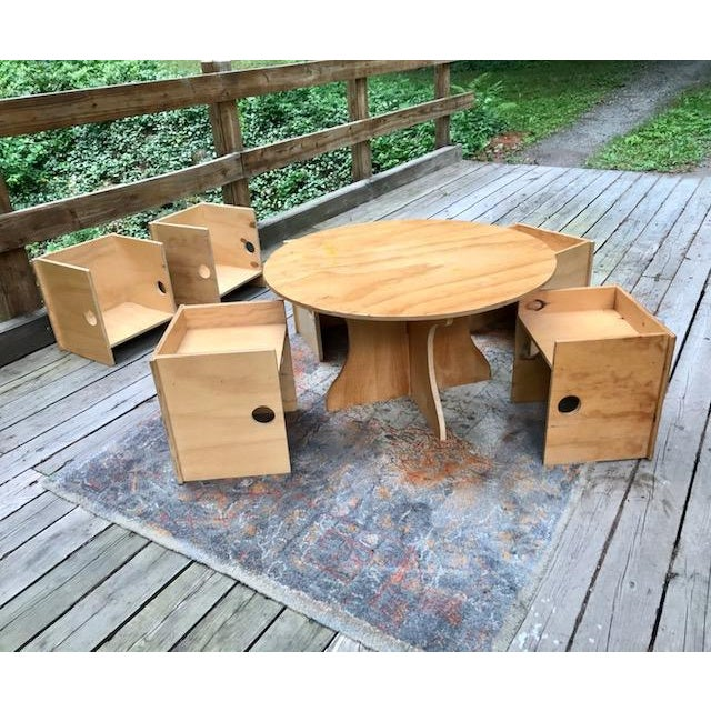 Modern Studio Craft Modern Children's Table & Six Box Chairs - 7 Pieces For Sale - Image 3 of 11