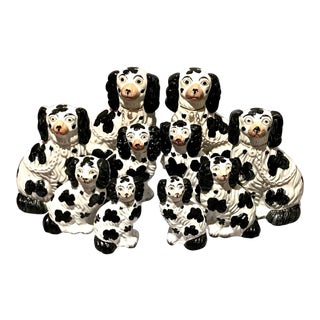Set of 6 Pairs Graduated Staffordshire Spaniels, C. 1850 For Sale