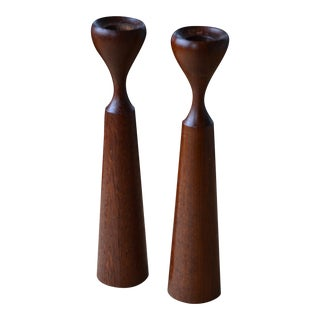 Danish Modern Tapered Teak Candle Sticks - A Pair