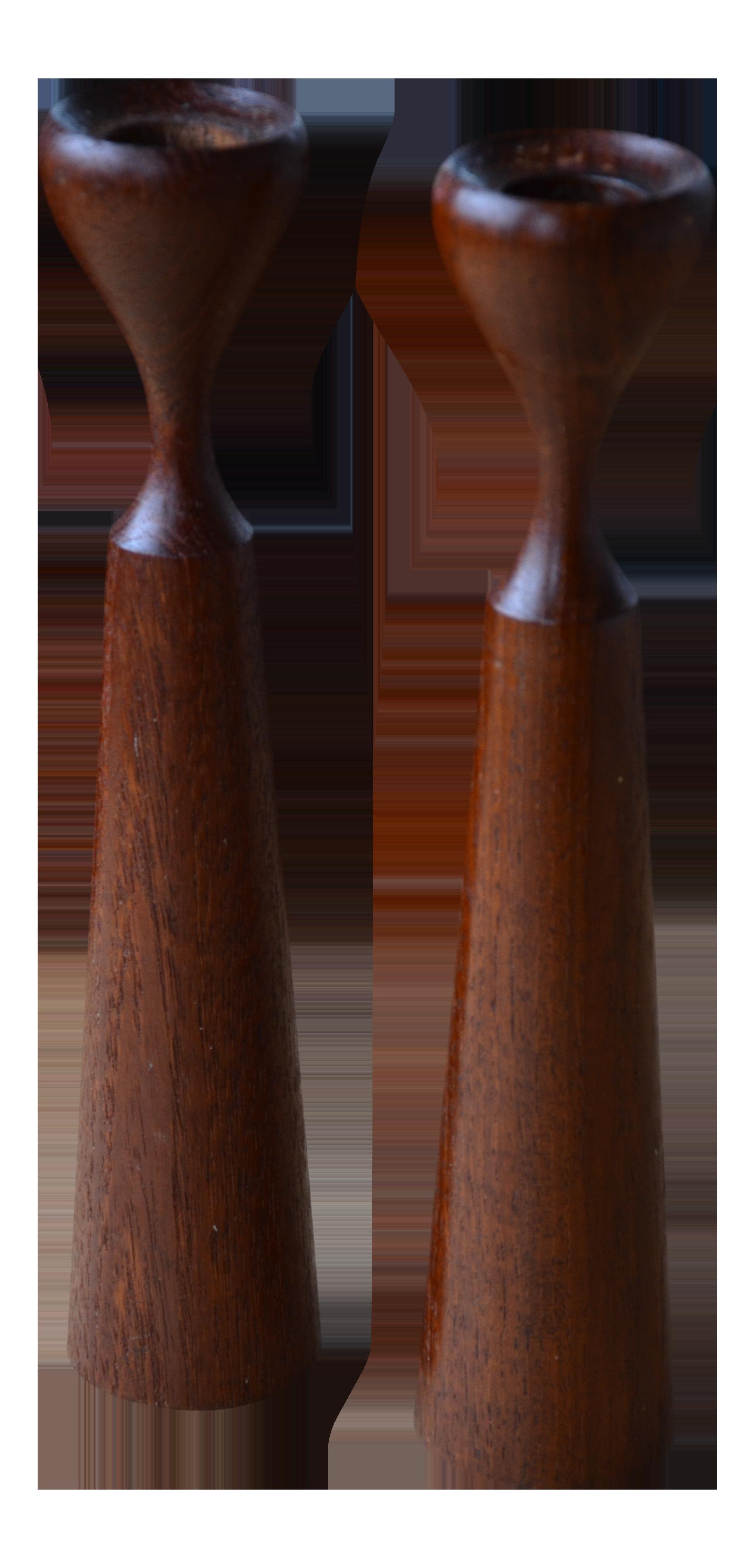 Danish Modern Tapered Teak Candle Sticks   A Pair
