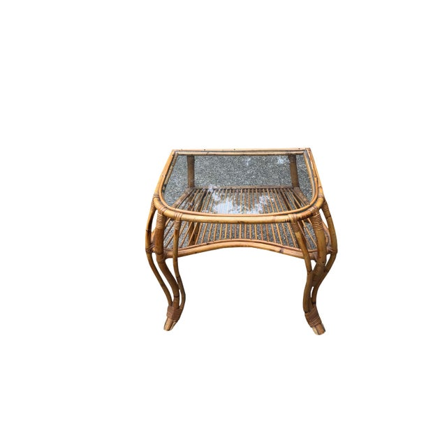 Mid-Century Modern Vintage Boho Chic Rattan and Bamboo Side Table For Sale - Image 3 of 4