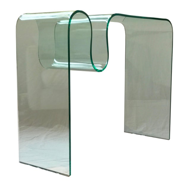 Glass Solid Bent Glass Console Table For Sale - Image 7 of 10