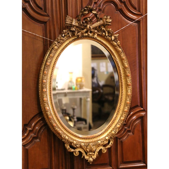 Wood 19th Century French Louis XVI Carved Giltwood Oval Wall Mirror With Torch Motif For Sale - Image 7 of 12