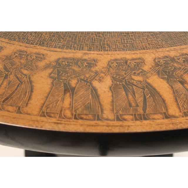 20th Century Egyptian Copperstyle Engraved Top Center Table For Sale - Image 4 of 11