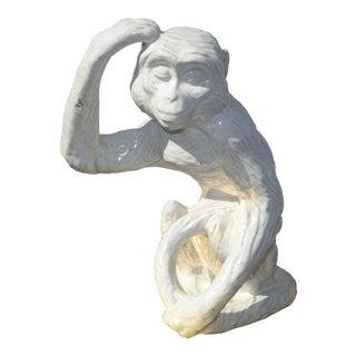 Vintage White Ceramic Crackle Glaze Monkey Statue Figurine For Sale