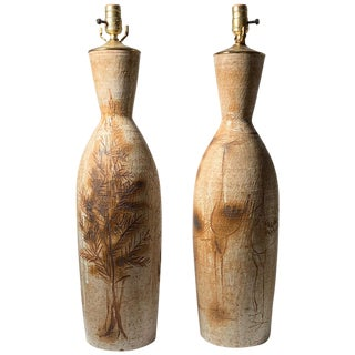 Pair of Tall Vintage Japanese Hand Thrown Torpedo Form Ceramic Table Lamps For Sale