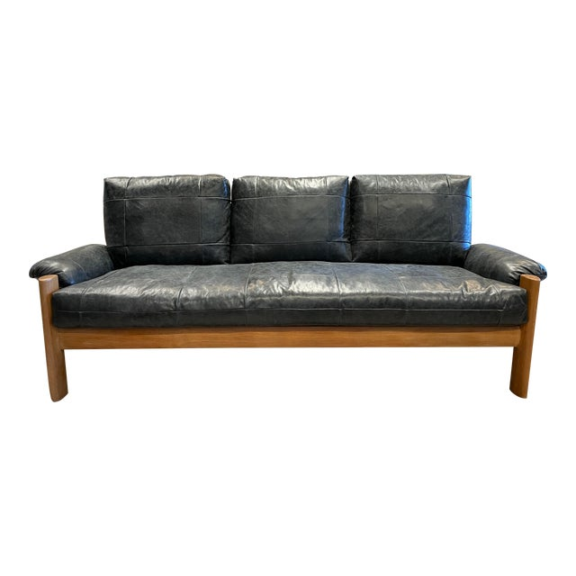 MCM Danish Sofa in Black Leather For Sale