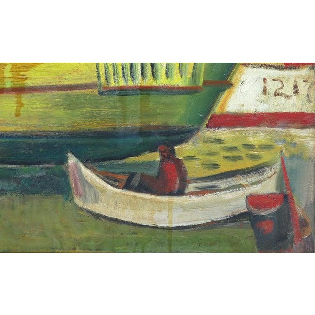 1960 WPA style fishing boatyard oil painting Offered is a 1960 WPA style boatyard oil painting on panel executed with bold...
