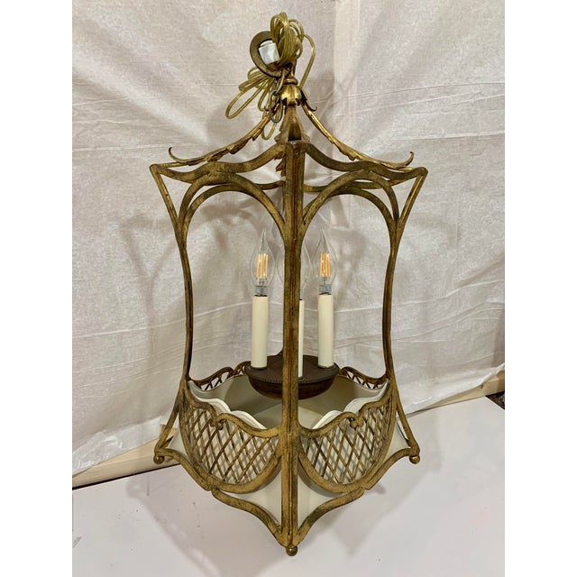 Gold 1920s French Style Basket Lantern For Sale - Image 8 of 8
