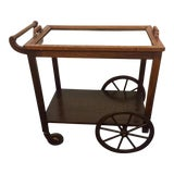 Image of 1960s Mid-Century Modern Bar Cart With Wagon Wheels and Removable Tray Top For Sale