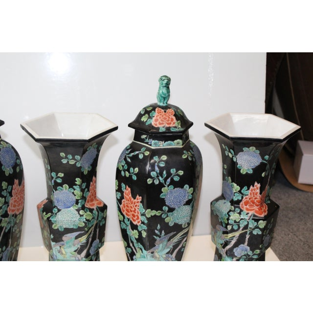 Chinese Garniture Black Vases - 5 Pieces For Sale - Image 4 of 9