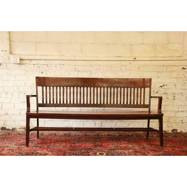 Heywood-Wakefield Early 1900's Lawyers Bench by Heywood-Wakefield For Sale - Image 4 of 8