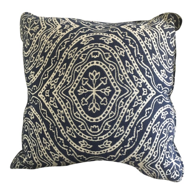 Contemporary Navy Blue & White Patterned Pillow - Image 1 of 3