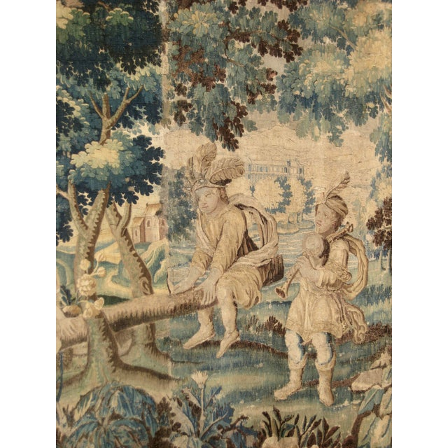 Silk French 17 Century Louis XIV Aubusson Tapestry Wall Hanging For Sale - Image 7 of 8