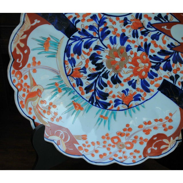 Blue Antique 19th Century Imari Bowl Serving Dish Plate Charger Japan For Sale - Image 8 of 12