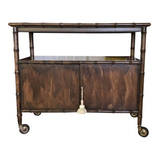 19th Century Traditional Faux Bamboo Bar Cart Cabinet For Sale