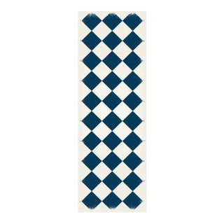 Blue & White Diamond European Design Rug - 2' X 6'