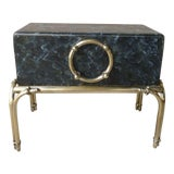 Image of Vintage Faux Painted Marbleized Trunk on Brass Stand Table Karl Springer For Sale