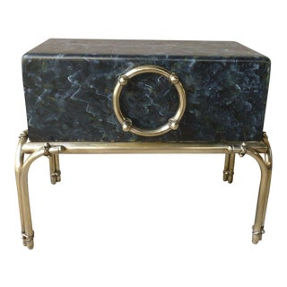 Vintage Faux Painted Marbleized Trunk on Brass Stand Table Karl Springer For Sale