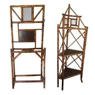 Vintage Scorched Bamboo Shelves - A Pair