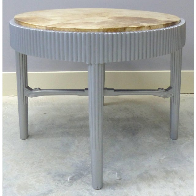 Albert Rateau French Art Deco Lacquered Tables with Goatskin Tops, Pair This is a pair of round silver lacquer ribbed wood...