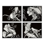 Black & White Tropical, Set of 4 by Allison Cosmos in Black Framed Paper, Small Art Print