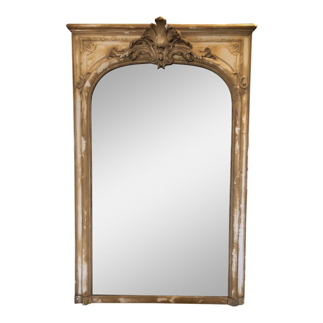 Antique French Wood & Plaster Mirror For Sale
