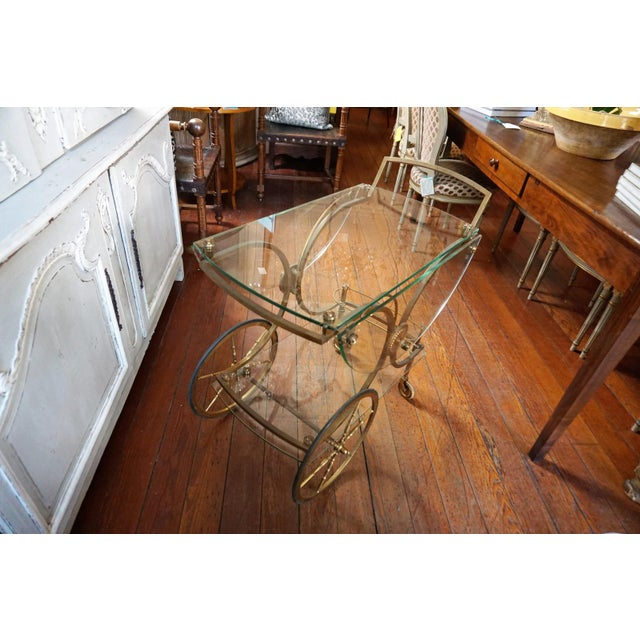 Gold French Brass and Glass Service Table For Sale - Image 8 of 10