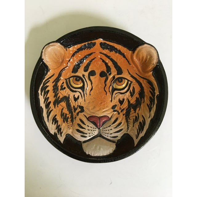 Offering an Italian glazed pottery Tiger face bowl/catchall/dish, in relief, that is hand painted and hand made. This is a...