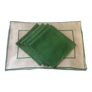 Green & Antique White Linen Place Mat & Napkin - Set of 4