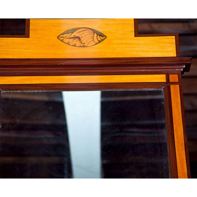 Antique Pier Satinwood Mirrors Mahogany Trim Banding Inlaid Decorated Pediment - a Pair For Sale - Image 5 of 6