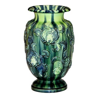 Antique Kyoto Pottery Vase With Applied Chrysanthemums For Sale