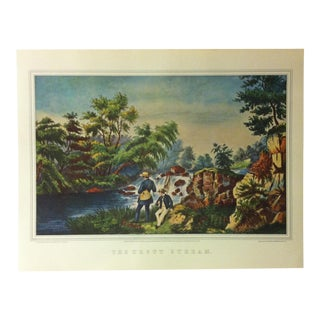 "Currier & Ives American Print, ""The Trout Stream"" by Crown Publishers, Circa 1950 For Sale"